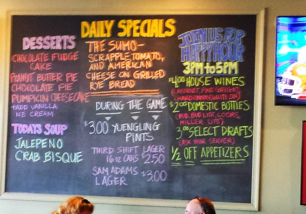 The specials board at Milford.