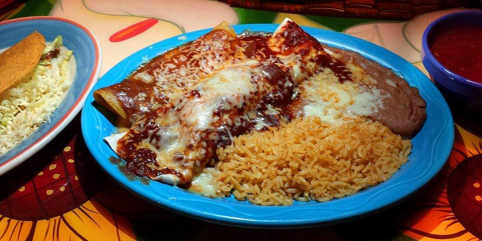 The triple crown: chix burrito, cheese enchilada and beef taco