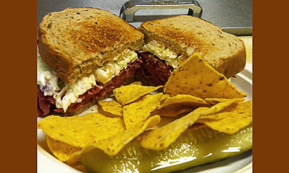 The corned beef sandwich.