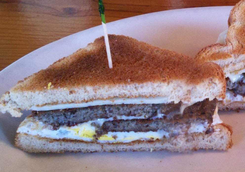 The scrapple, egg & cheese on toast. And coffee. Ahhh.