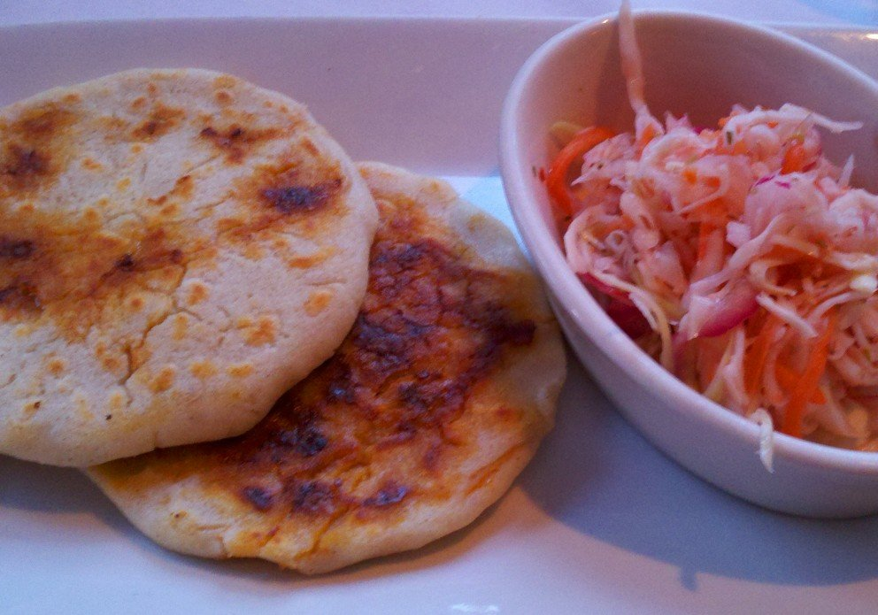 Handmade pupusas with that delicious spicy slaw.
