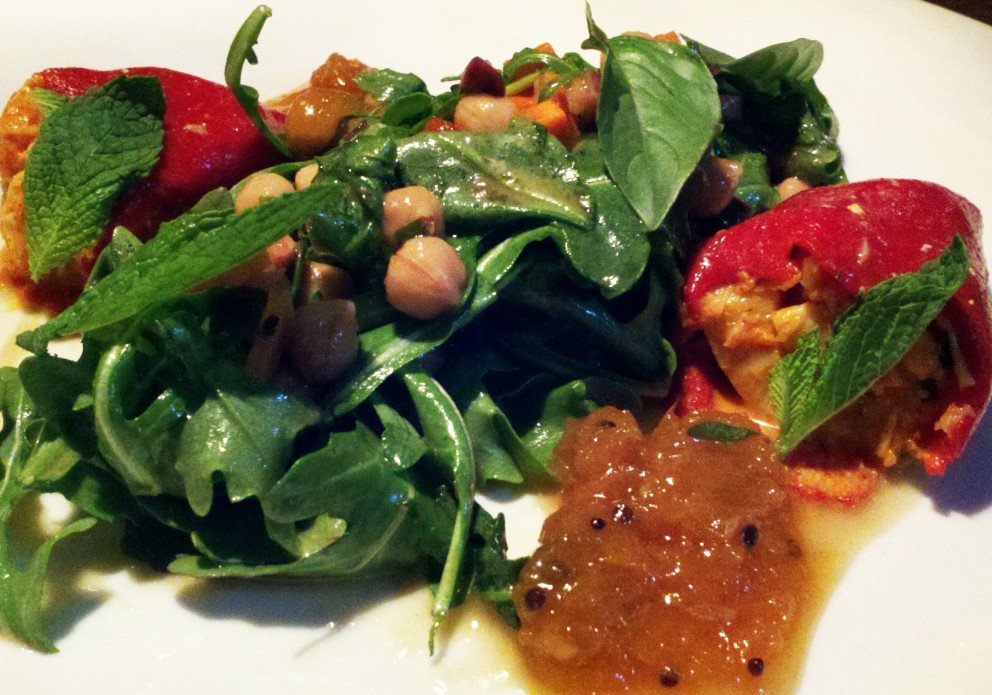 stuffed peppers and greens