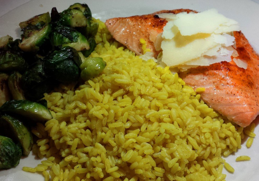 Salmon with rice and brussels sprouts