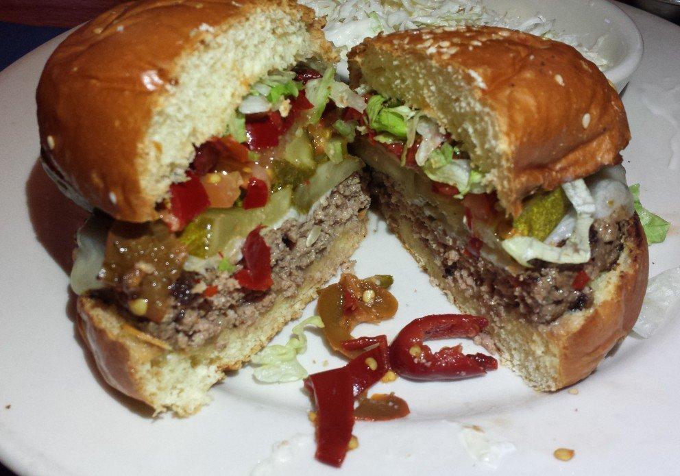 A big burger. On Mondays it's half-price!