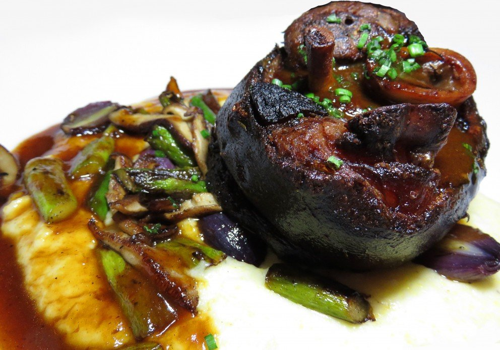 Pork Shank with polents, 'shrooms, peal onions and asparagus