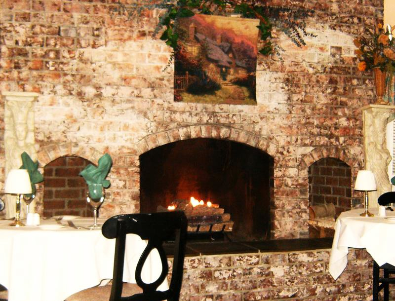 The cozy fireplace at Just in Thyme