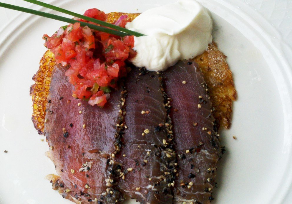 Pepper tuna on a crepe