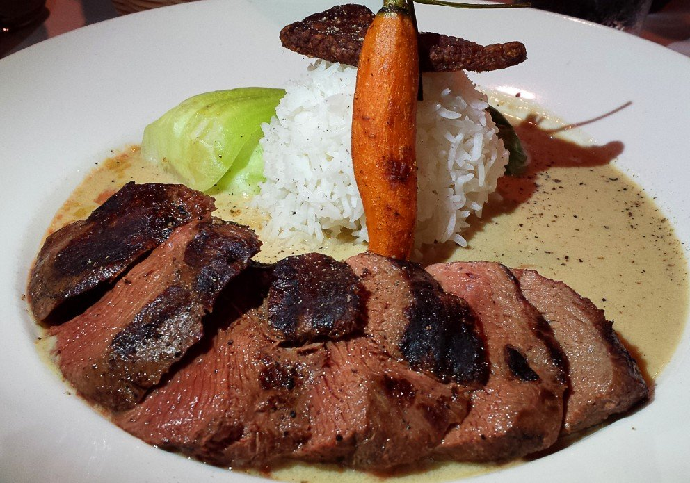 Ginger duck breast with jasmine rice