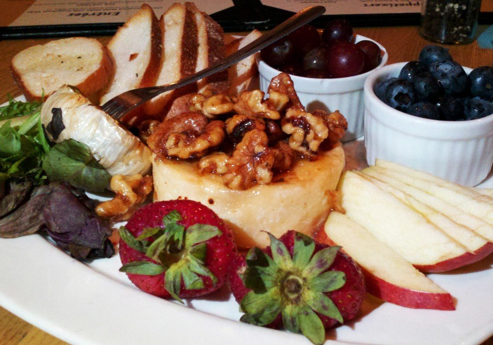 Baked brie with walnuts, honey and all sorts of tasty stuff