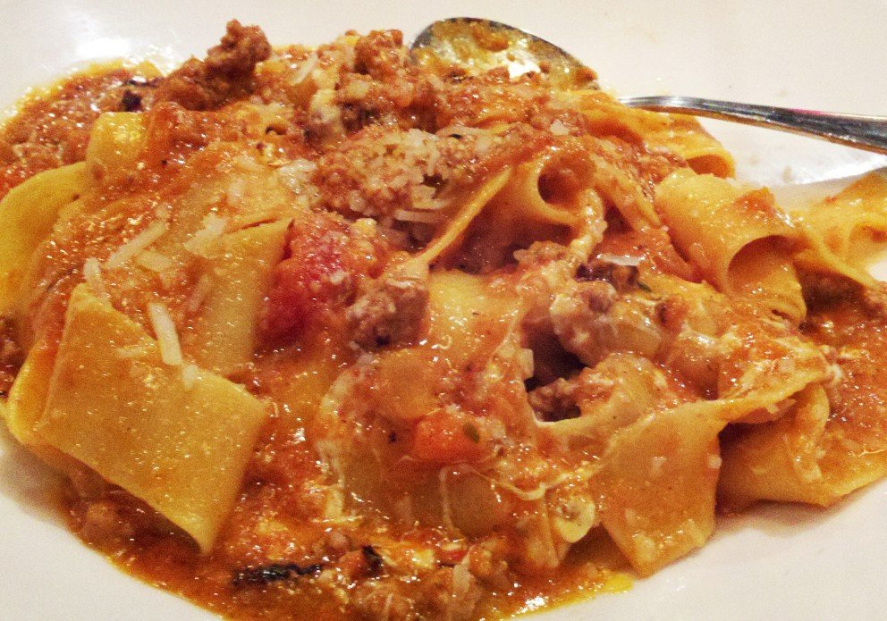 The bolognese over pappardelle. Possibly the star of the show.