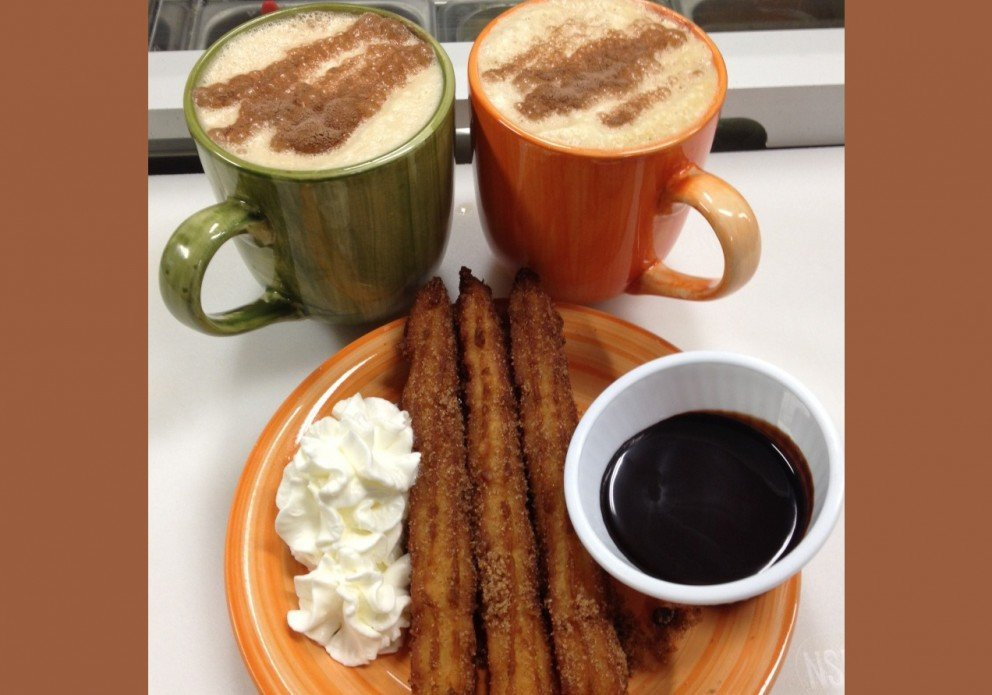 Churros and hot chocolate on a cool morning!