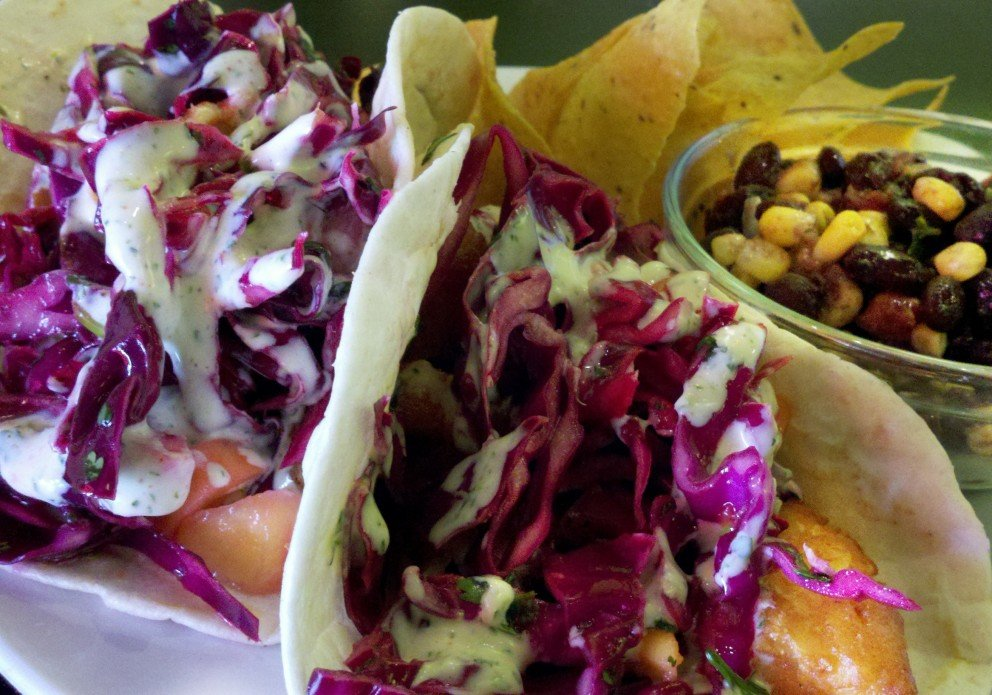 Fish Tacos with that delicious slaw.
