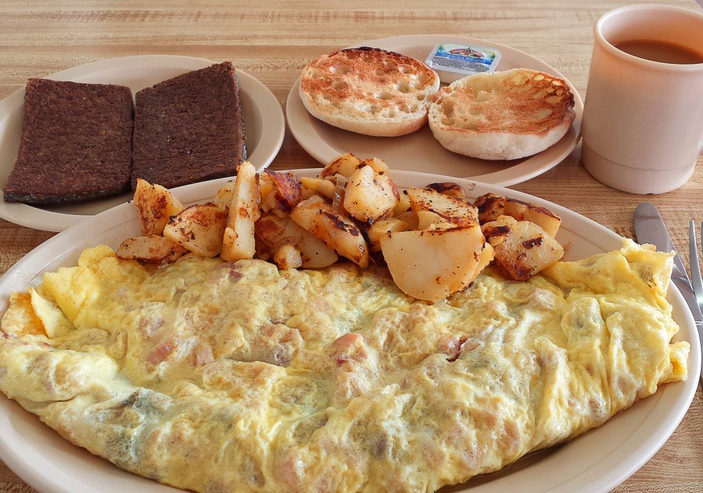 Mushroom/cheese omelet w/a side of scrapple (well-done, please).