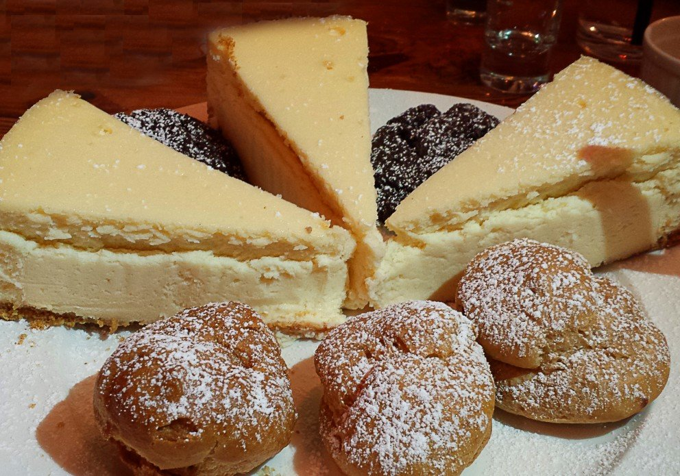 NY cheesecake, creampuffs and chocolate sour cream cookies