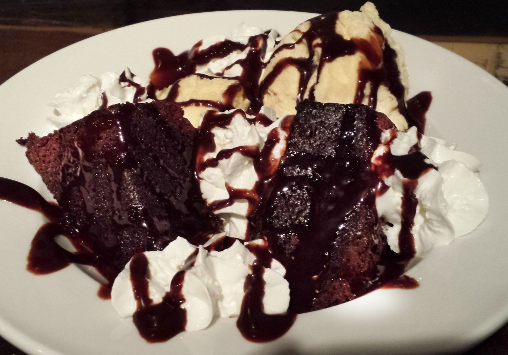 The big ol' chocolate cake ice cream sundae