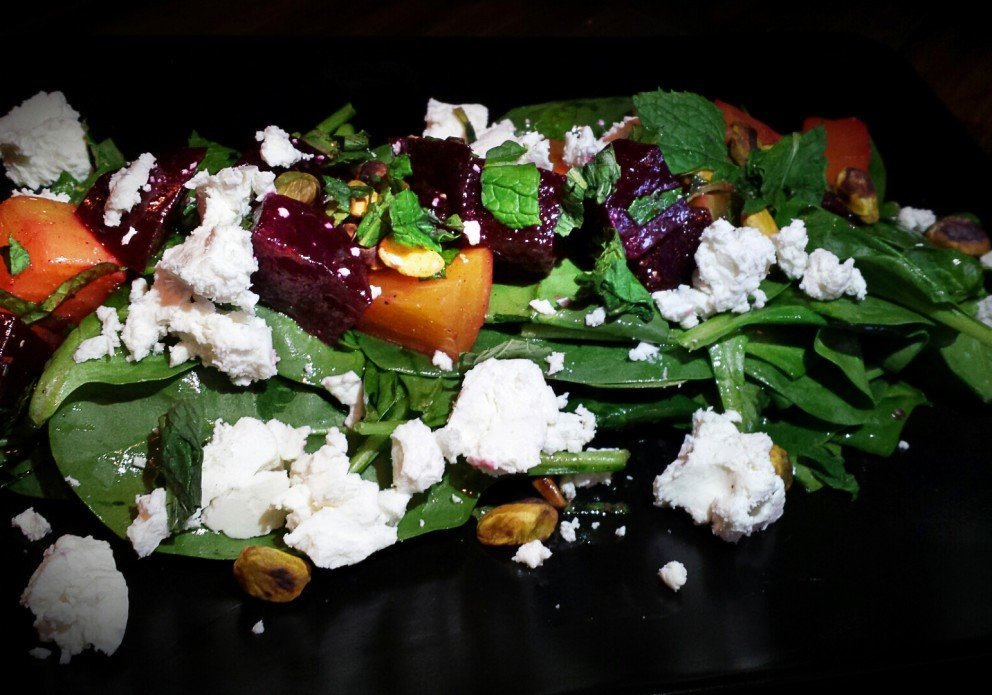 Roasted Beet Salad with pistachios, chevre, mint & lemon