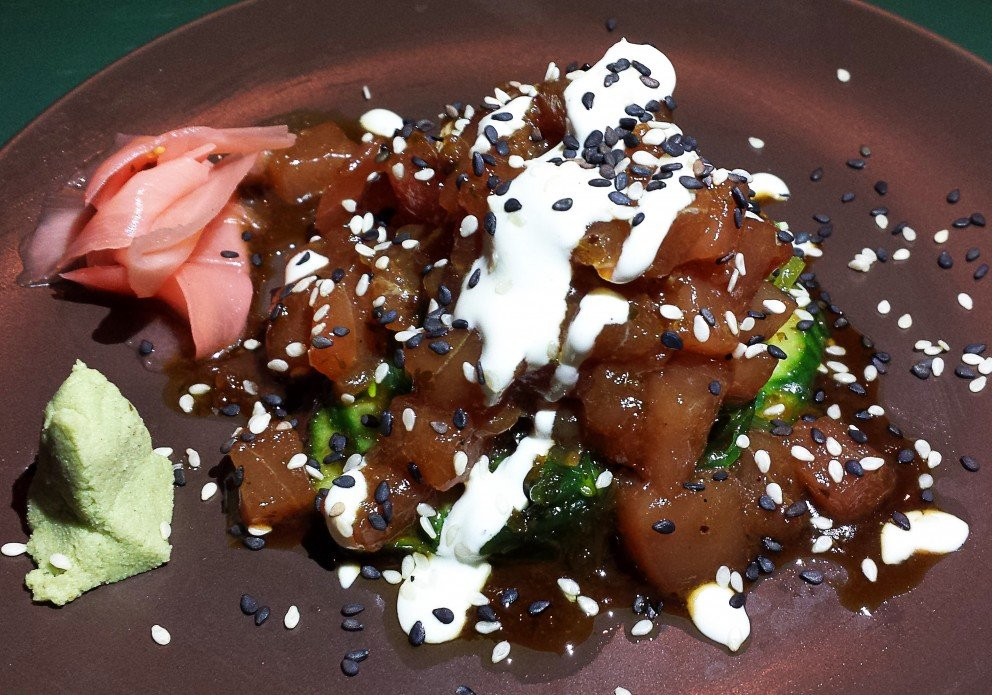Tuna Sashimi w/Euro Cucumber, sakame seaweed & wasabi cream
