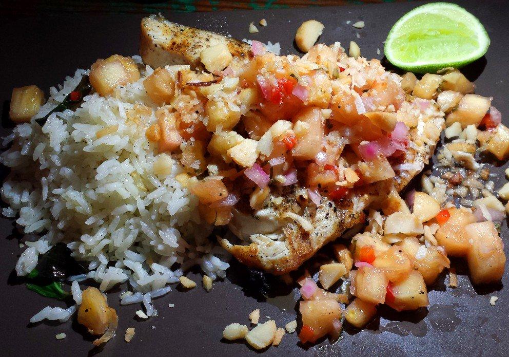 The Hawaiian-laced swordfish with jasmine rice.