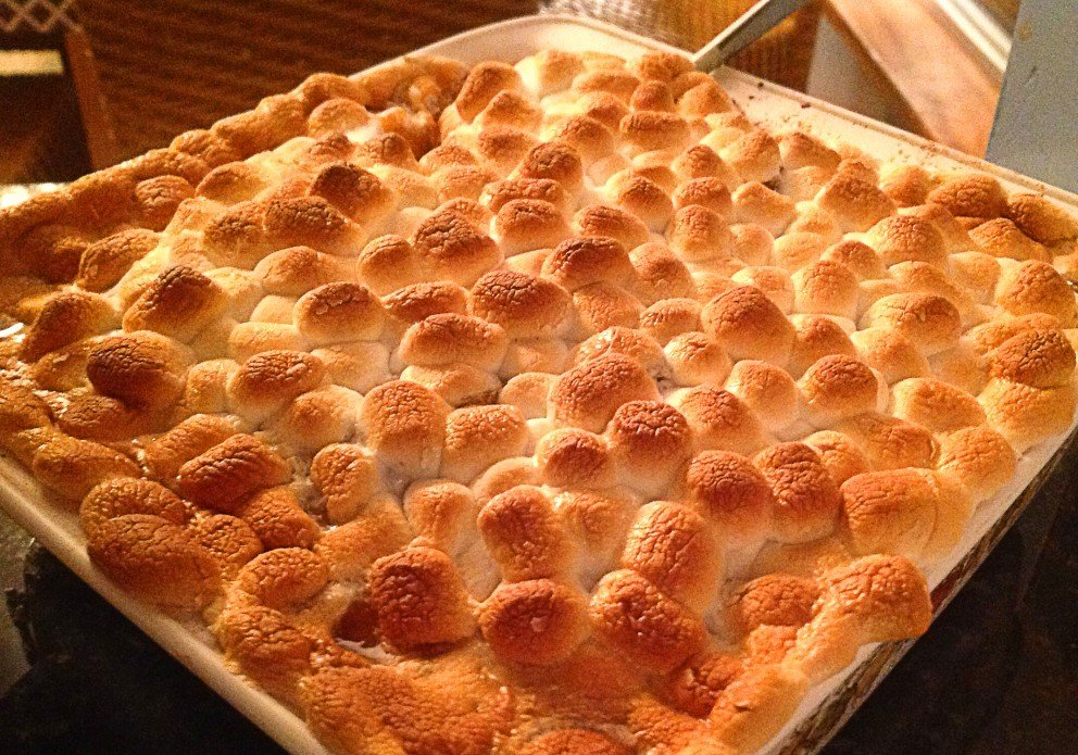Yam & marshmallow holiday casserole goes great with the Adelsheim pinot gris