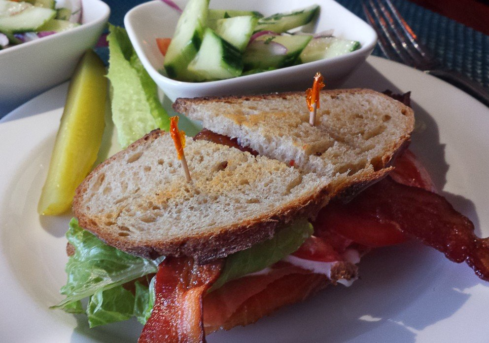 Smoked salmon BLT for lunch