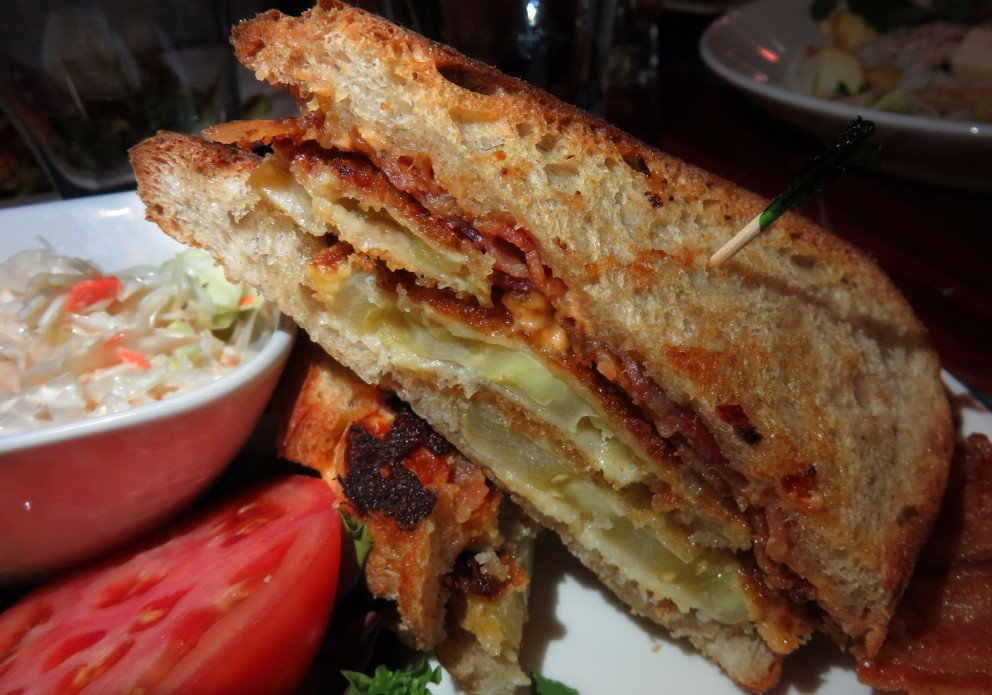 Pimiento cheese, fried green tomato & bacon on sourdough