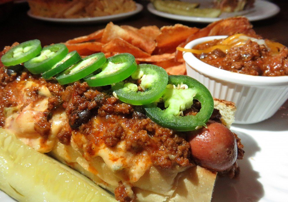 Chili cheese dog. The jalapenos are optional!