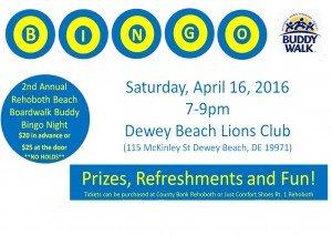Buddy Walk Bingo 4/16