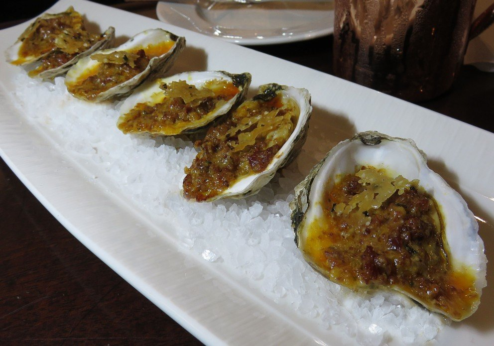 roasted oysters with asiago and a crunchy tuille