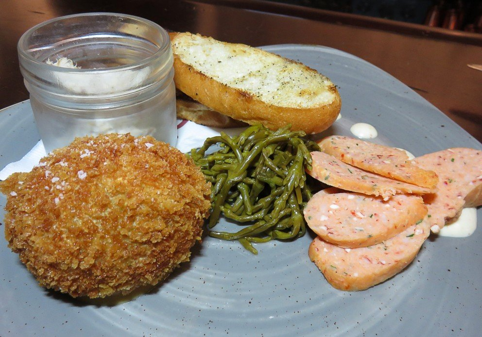 Seacuterie: lobster sausage, crab cake scotch egg and smoked bluefish spread