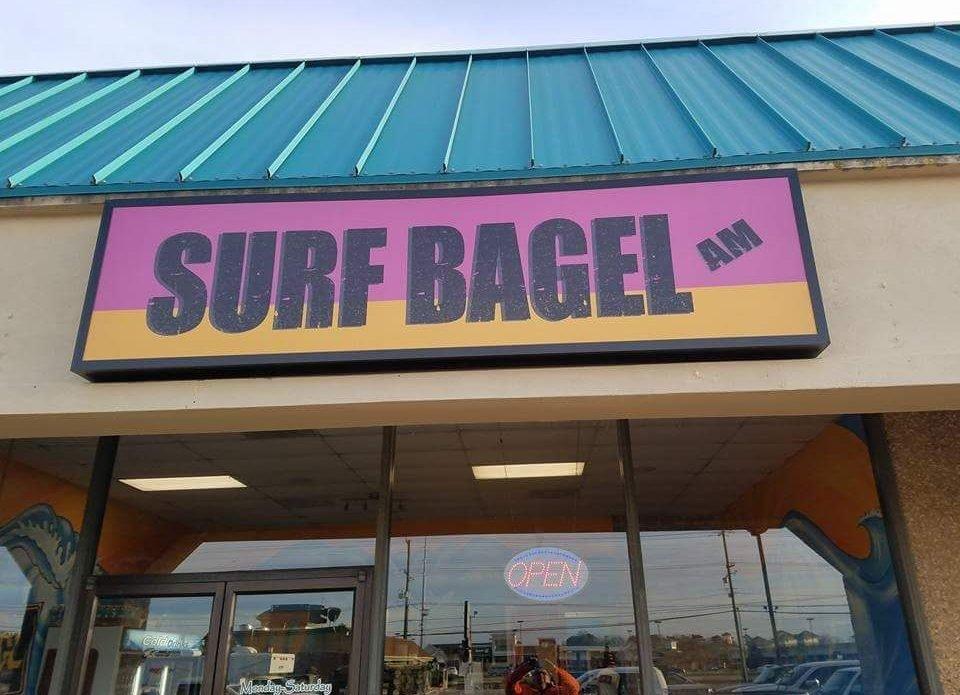 SURF BAGEL SOUTH sign