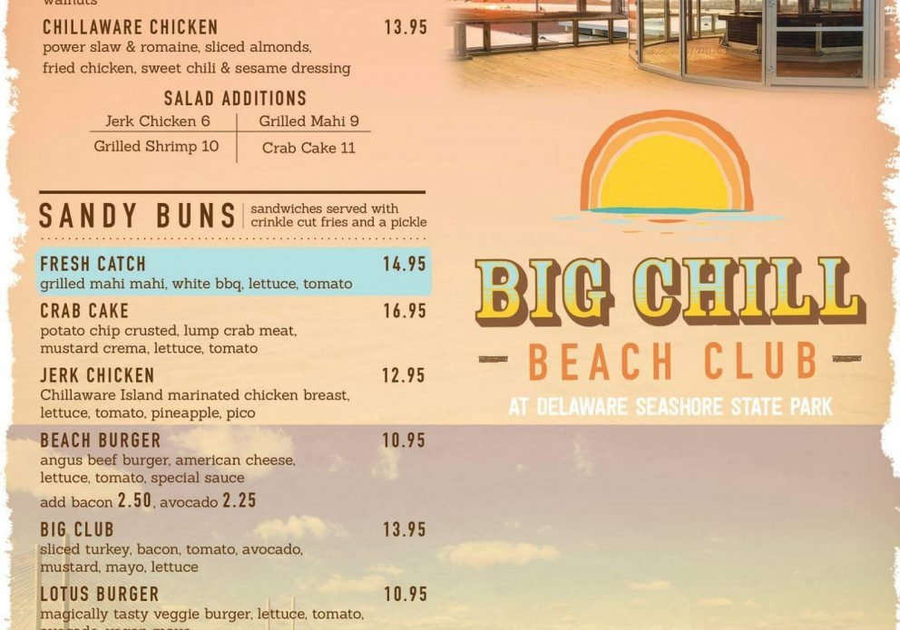 big chill beach club MENU PAGE 1